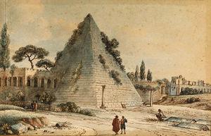 La Pirámide de Cayo Cestio Con la Muralla Aureliana, Roma