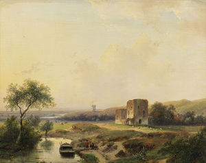 River Landscape With Windmill In Haarlem And The Ruins Of Brederode