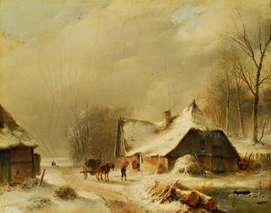 Winter Landscape With Horse And Carriage In Front Of A Snowy Farm