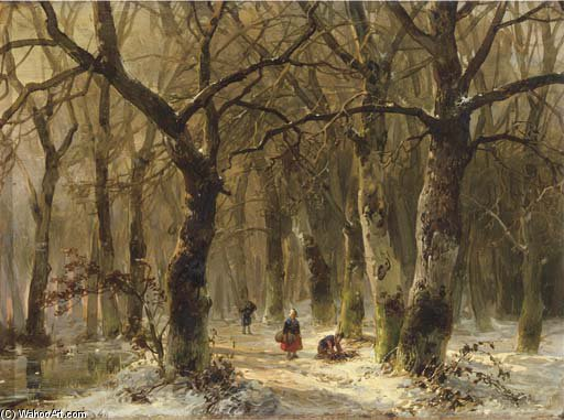 Wikioo.org - The Encyclopedia of Fine Arts - Painting, Artwork by Andreas Schelfhout - Woodgatherers On A Forest Path In Winter