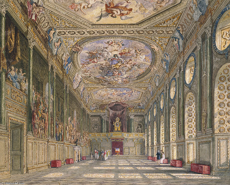 Wikioo.org - The Encyclopedia of Fine Arts - Painting, Artwork by Charles Wild - Windsor Castle, St George's Hall