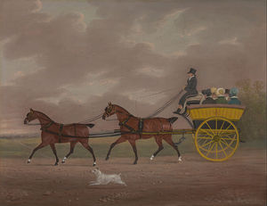 A Gentleman Driving Tandem To A Jaunting Ca