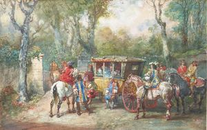 A Group Of Riders Carosse Around A Door To A Park