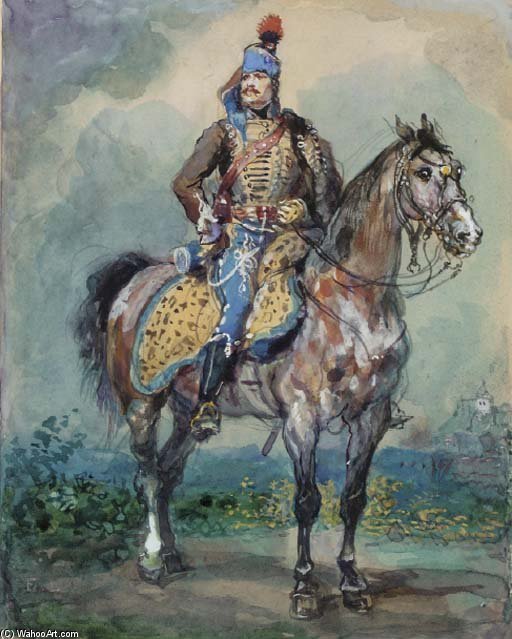 Wikioo.org - The Encyclopedia of Fine Arts - Painting, Artwork by Eugene Louis Lami - Hussard Riding, Turned Left