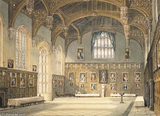 Wikioo.org - The Encyclopedia of Fine Arts - Painting, Artwork by Frederick Nash - The Dining Hall, Christ Church, Oxford