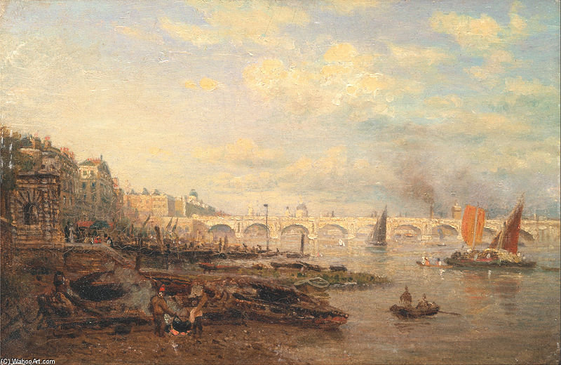 Wikioo.org - The Encyclopedia of Fine Arts - Painting, Artwork by Frederick Nash - The Thames And Waterloo Bridge From Somerset House