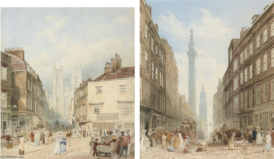 Wikioo.org - The Encyclopedia of Fine Arts - Painting, Artwork by Frederick Nash - View Of Tothill Street With Westminster Abbey Beyond; And View Of Gracechurch Street With The Monument And The Church Of St. Magnus The Martyr Beyond