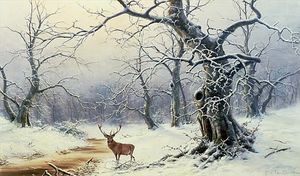A Stag In A Wooded Landscape