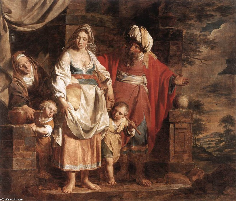 Wikioo.org - The Encyclopedia of Fine Arts - Painting, Artwork by Pieter Jozef Verhaghen - Hagar And Ishmael Banished