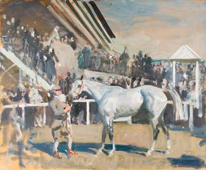 A Grey Horse In The Unsaddling Paddock, Epsom