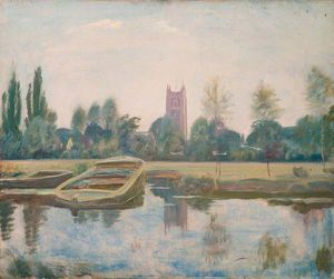 The Stour At Dedham With Barges