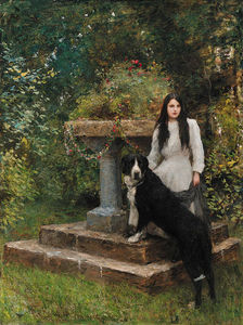 A Young Girl And Her Dog