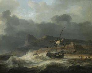 Coastal Landscape With Beached Ship