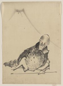 A Monk Reclining, Holding A Large Conical Hat In Front Of Him