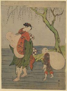 Hotei Carrying A Young Girl Piggyback