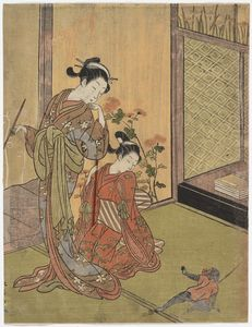 Two Girls Looking At A Monkey On A Leash