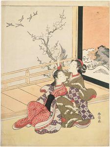 Two Young Women Watching Geese