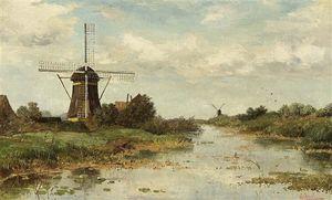 Windmills In A Landscape Near Abcoude