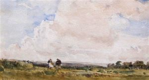 A Moorland Landscape With Two Figures By A Track