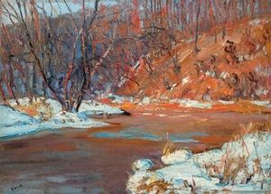 Snow On The Riverbank