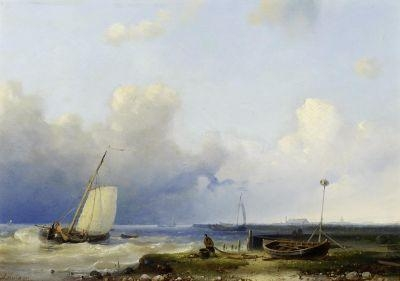 Wikioo.org - สารานุกรมวิจิตรศิลป์ - จิตรกรรม Abraham Hulk Senior - Brewing Storm On The Dutch Coast
