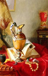 A Still Life With Urns And Illuminated Manuscript On A Draped Table