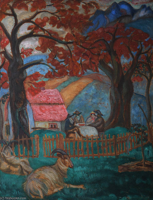 Wikioo.org - The Encyclopedia of Fine Arts - Painting, Artwork by Boris Dmitrievich Grigoriev - Village In Norway