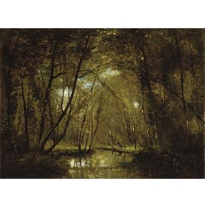 Wooded Riverscape With Figures