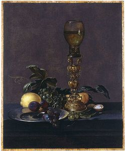 A Roemer Of White Wine On An Elaborate Stand With Black Grapes And Plums On A Pewter Plate,