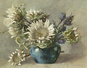 Disteln In Blauer Vase. Aquarell Auf