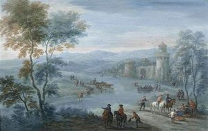 A River Landscape With Figures On Horseback And Cattle Outside A Walled Town