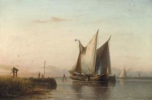Sailing Vessels In A Calm Estuary At Dusk