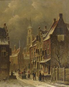 A Townview In Winter With Figures Conversing