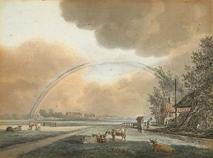 Landscape With A Rainbow Over A Farmhouse And Distant Village