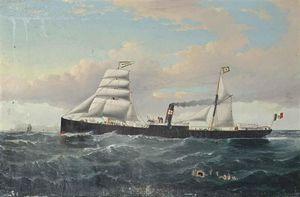 La Steamship Acordat italiana Off The Lighthouse Pila del Sur