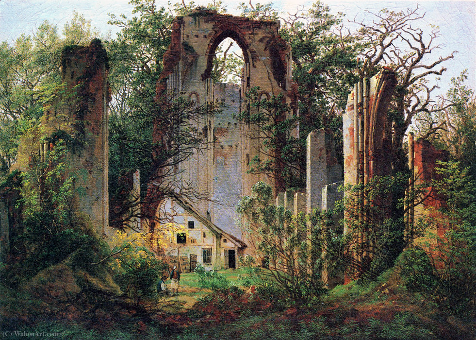 Wikioo.org - The Encyclopedia of Fine Arts - Painting, Artwork by Caspar David Friedrich - Monastery ruin Eldena