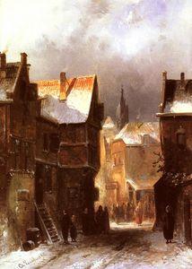 a dutch town in winter