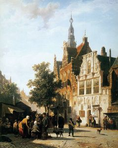 Marketview with cityhall Woerden Sun