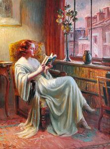 femme lisant pr_s de la fen_tre