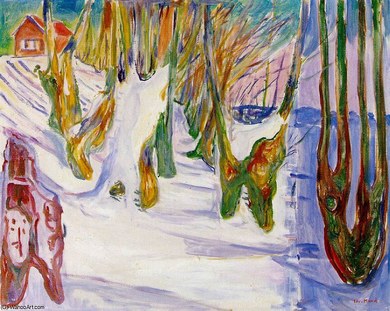 Wikioo.org - The Encyclopedia of Fine Arts - Painting, Artwork by Edvard Munch - old trees