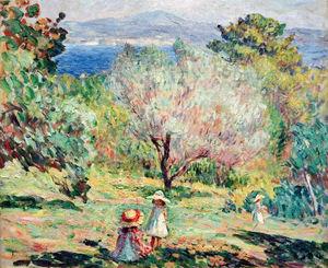 Girls in a Mediterranean landscape