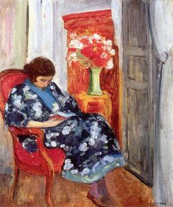 Jeune Femme Lisant dans un Interieur