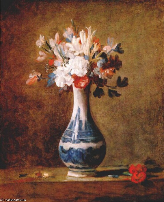 Wikioo.org - The Encyclopedia of Fine Arts - Painting, Artwork by Jean-Baptiste Simeon Chardin - flowers in blue and white vase