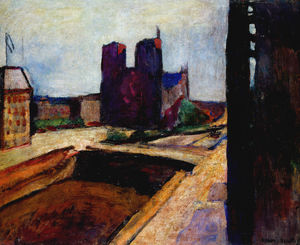 Notre Dame au mur violet Huile sur Toile Collection Particulière
