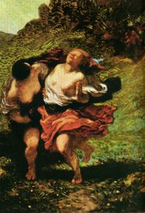 Deux Nymphes poursuivies par des satyres Dos ninfas continuadas por sátiros