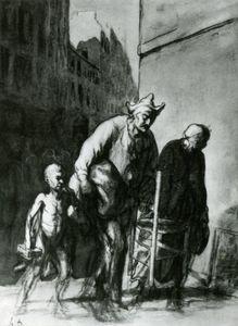 Le Déplacement des saltimbanques, fusain crayon et estompe... The Displacement of the travelling acrobats, charcoal pencil and stumpjpg