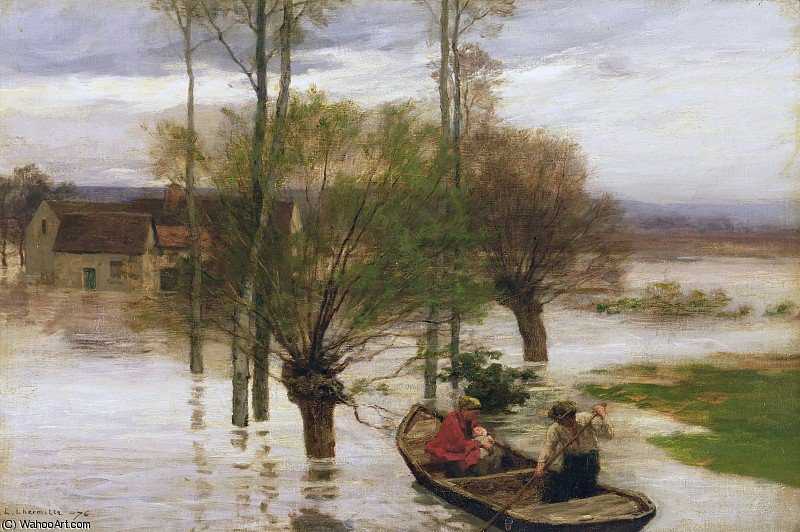 Wikioo.org - The Encyclopedia of Fine Arts - Painting, Artwork by Léon Augustin L'hermitte - a flood