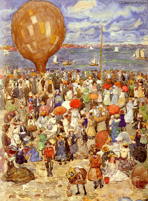 Wikioo.org - The Encyclopedia of Fine Arts - Painting, Artwork by Maurice Brazil Prendergast - b the balloon
