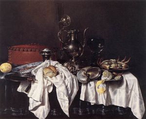 Still-Life with Pie, Silver Ewer and Crab