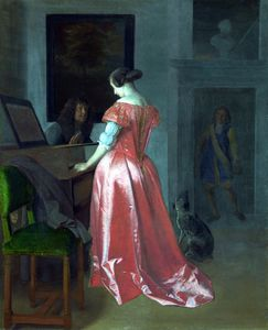 A Woman standing at a Harpsichord, a Man seated by her